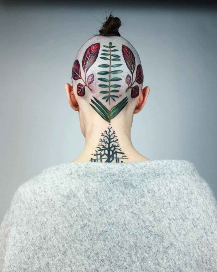 head tattoo of leaves