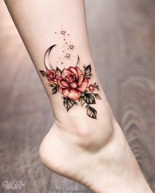Moon Rose Tattoo on Ankle