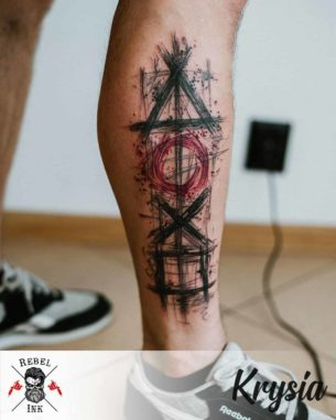 Playstation Controls Tattoo on Calf