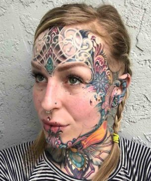 Traditional Ornament Face Tattoo