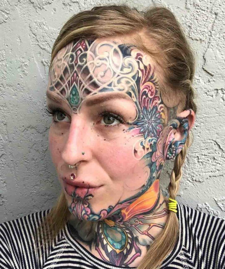 face tattoo traditional ornament